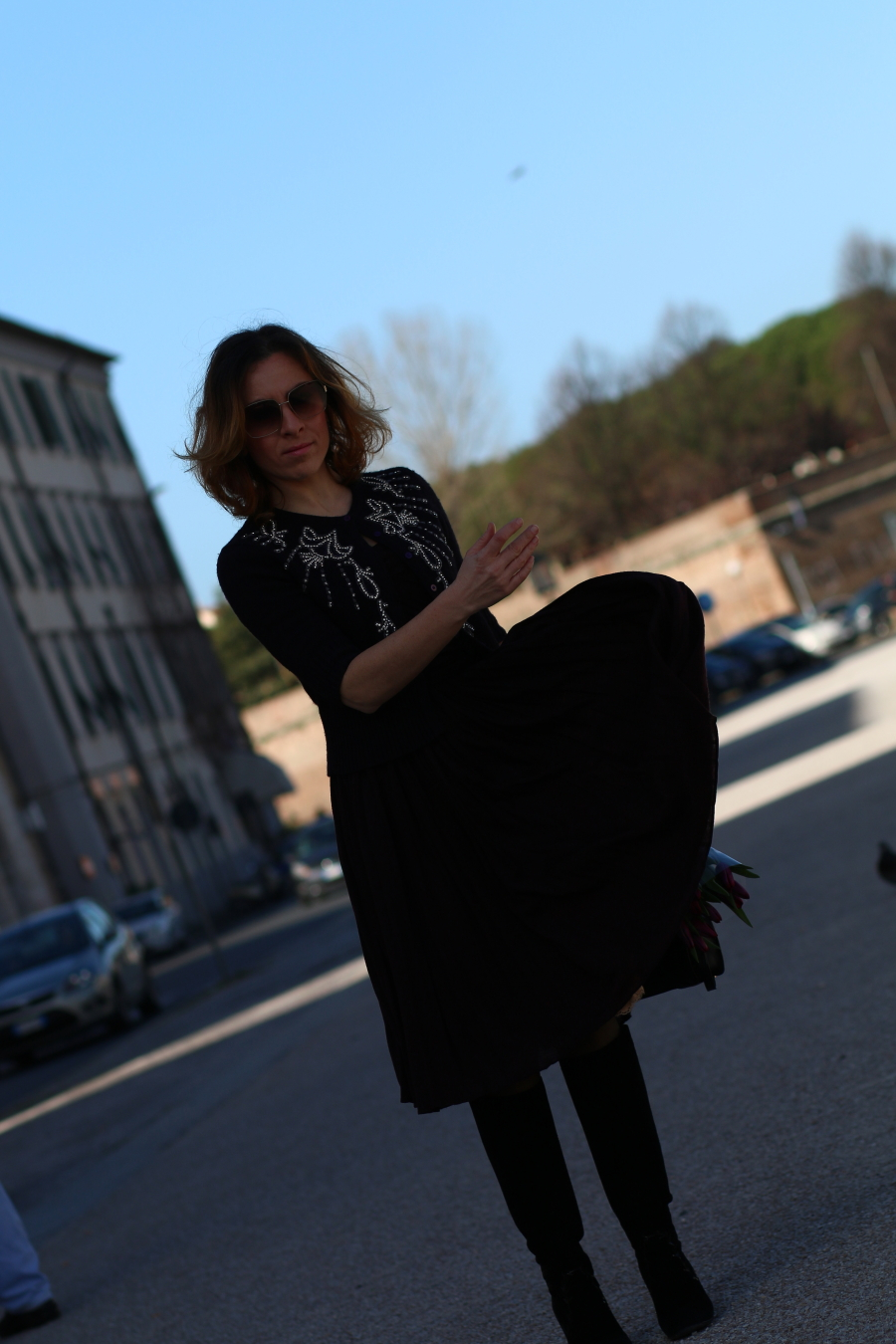 blogger diaries calogero did love say good-bye by The Italian Glam Dolce Gabbana pleated dress