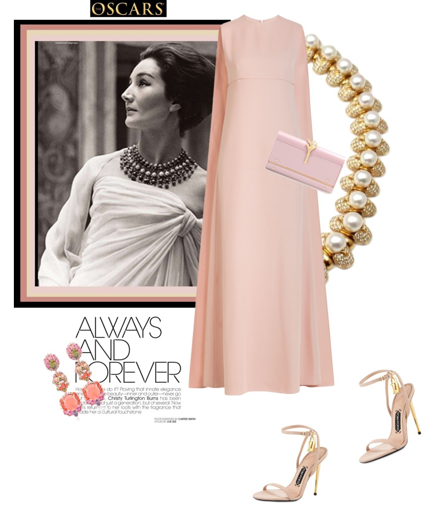 toujours jacqueline by The Italian Glam Valentino cape dress clutch Tom Ford sandals Bulgari necklace